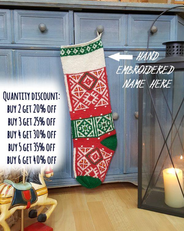 Christmas Stockings White Green Red