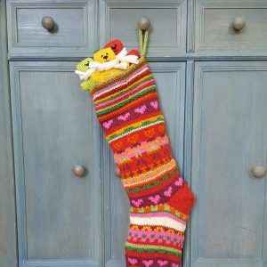 Christmas stocking stripped with hearts