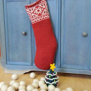 Red Jacquard Knit Christmas Stockings