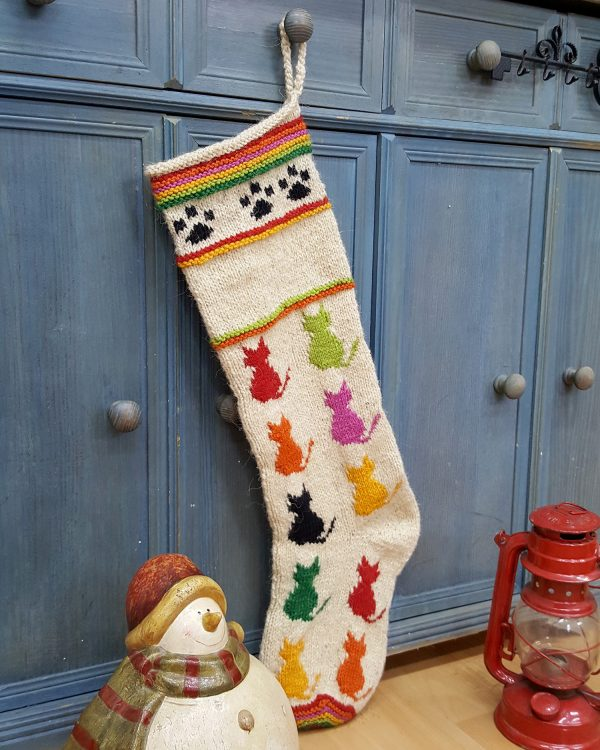 Personalizable Multicolored cats on Christmas stocking