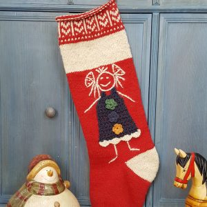 Christmas Stocking with Girl Doll