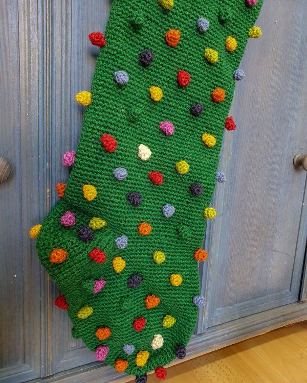 Green Crochet Christmas Stocking
