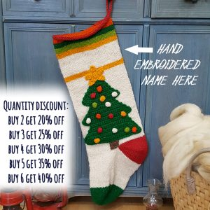 Christmas Stocking with Christmas Tree Applique
