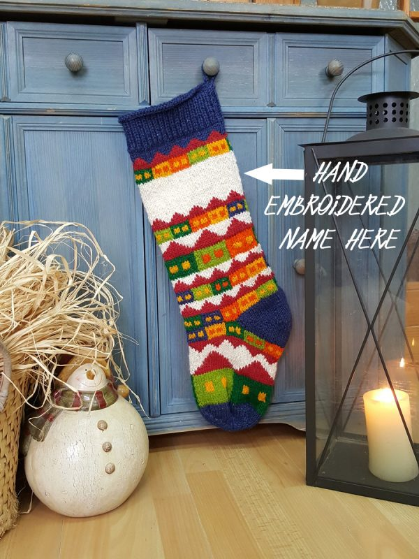Personalizable Christmas Stocking with Snowy Houses