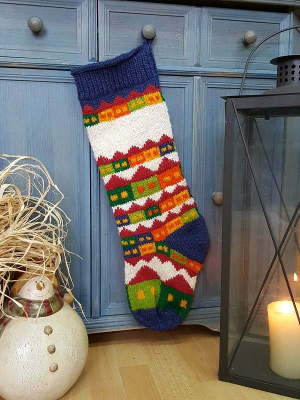Christmas Stocking with Snowy Houses