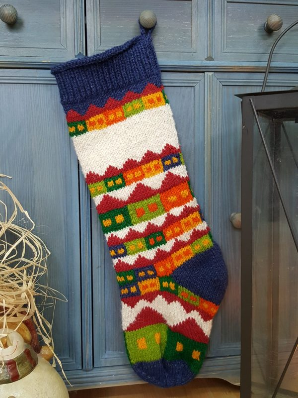 Blue Christmas Stocking with Snowy Houses