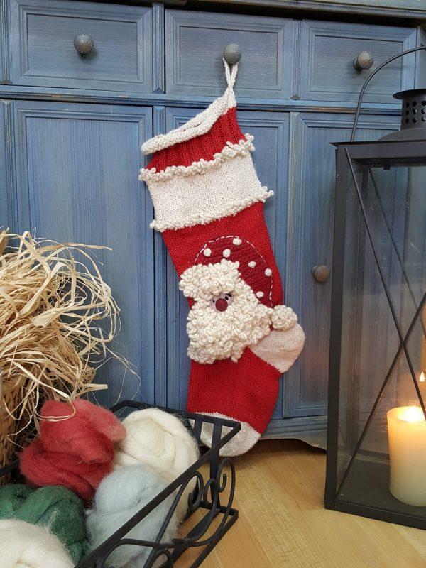 Christmas Stocking With Santa Claus Applique