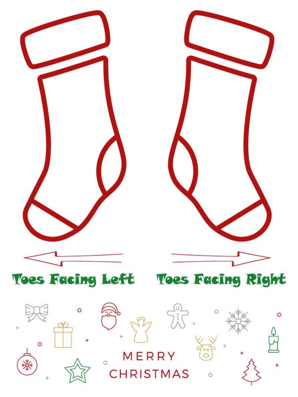 Christmas stocking toes facing directions