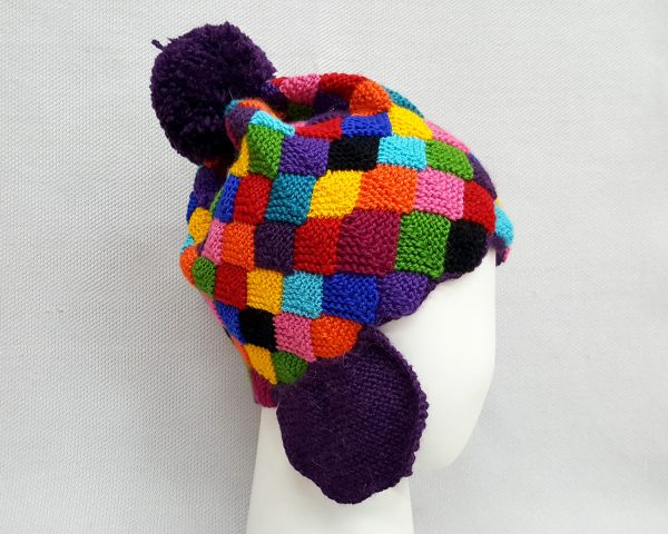 colorful beanie with pompon