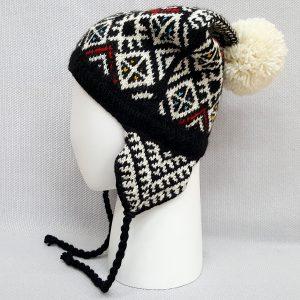jacquard knit hat with pompon