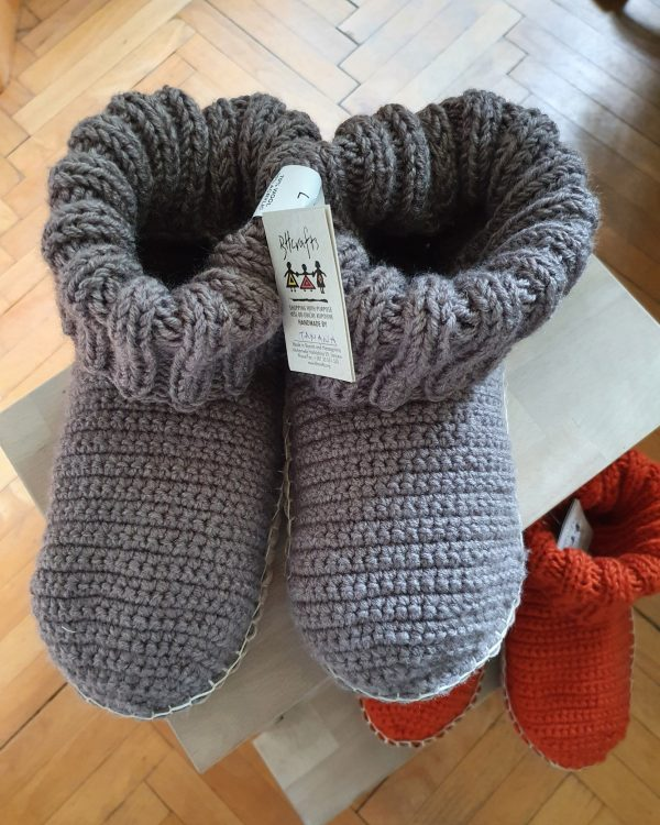 Grey Slipper Socks with Leather Sole