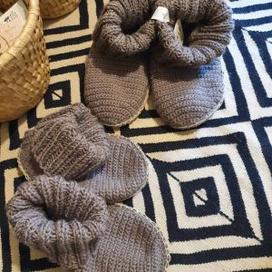 Gray Slipper Socks with Leather Sole