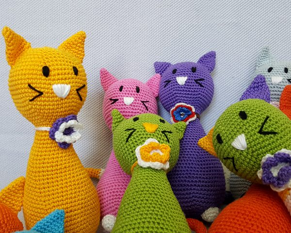 pink crochet cat toy