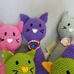 purple crochet cat toy