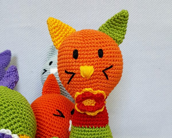 orange amigurumi cat toy