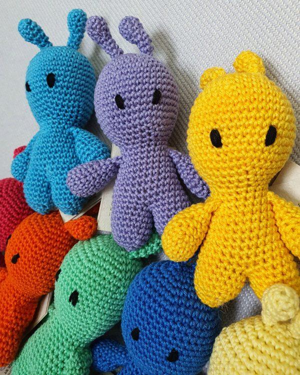 colorful aliens crochet toys