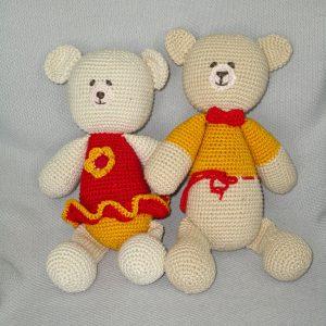 crochet red amigurumi teddy bear