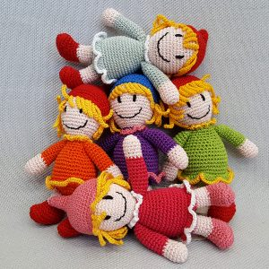 Colorful stuffed dolls