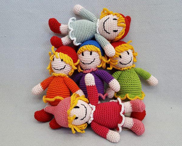 Colorful stuffed dolls