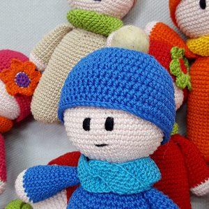 blue crochet doll