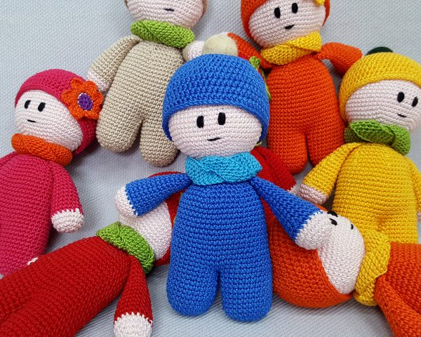 royal blue crochet toy