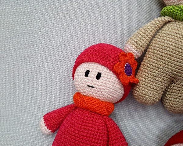 red crochet toy