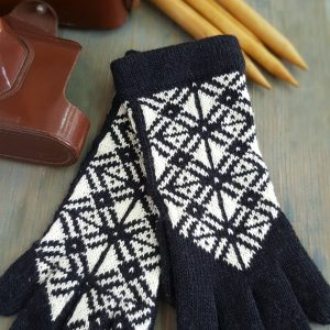 hand knitted black and white gloves