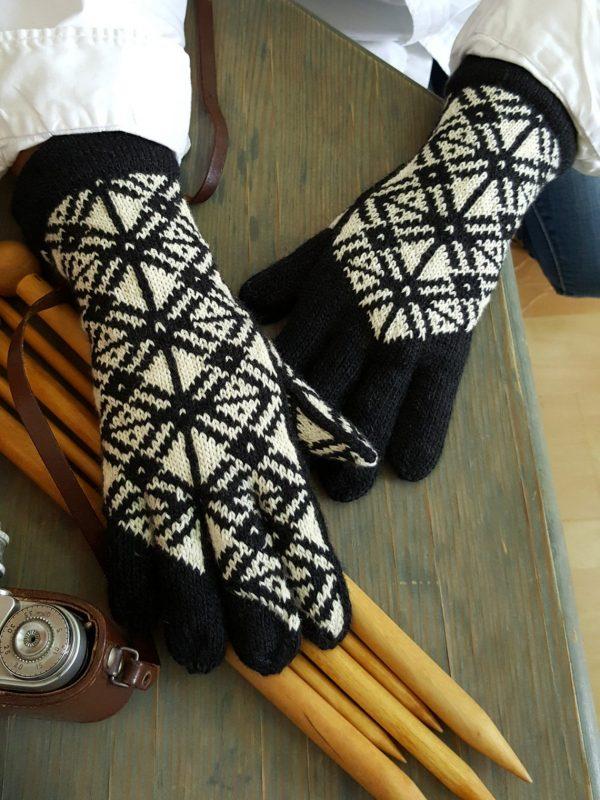 fair trade knitted monochrome gloves