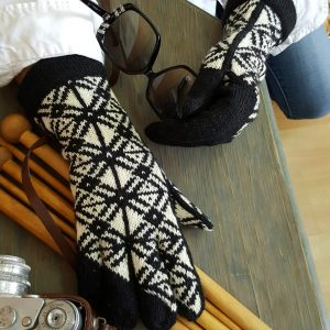 jacquard knitted winter gloves