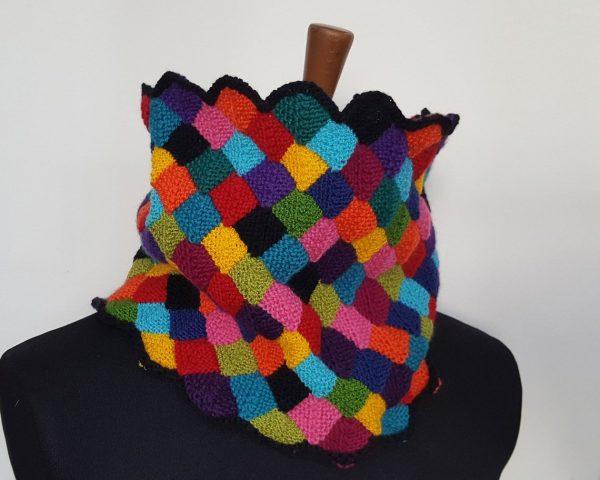 colorful handknit circle scarf