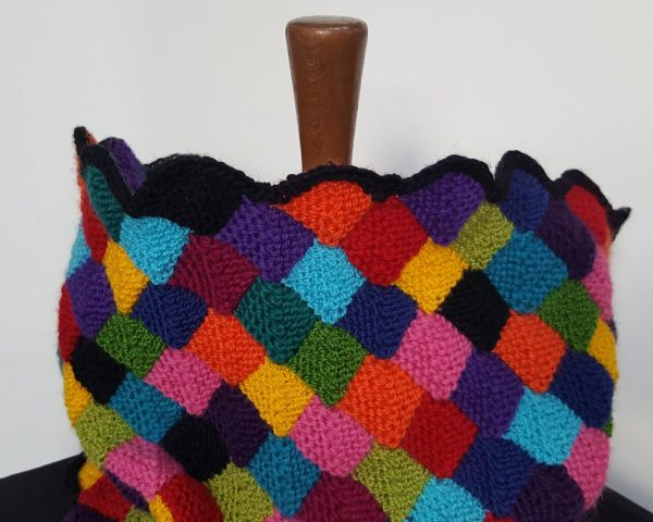 rainbow colors knitted winter scarf