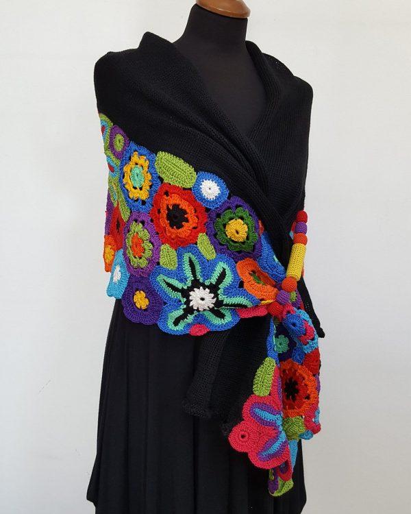 rainbow colors wrap shawl