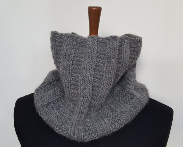 Grey knitted circle winter scarf