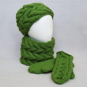 green winter accessories set