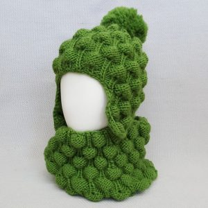 green knit helmet hat