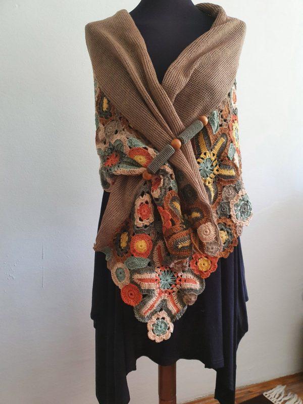autumn colors crochet shawl