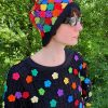 rainbow flower crochet hat