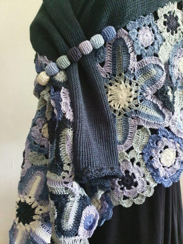blue hand crochet wrap shawl
