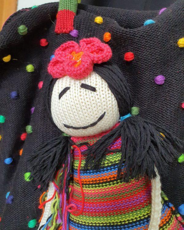 rainbow knitted bag