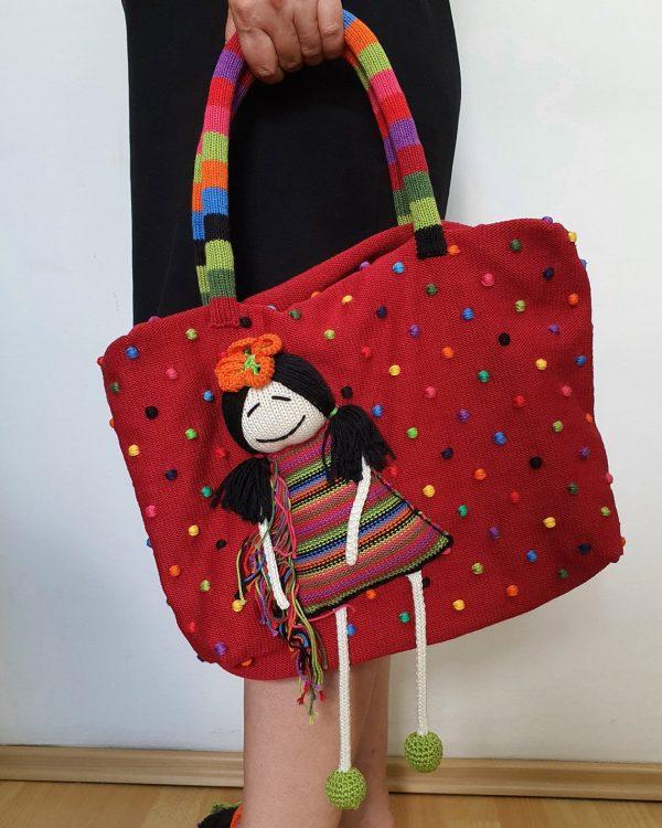 Burgundy Knit Handbag