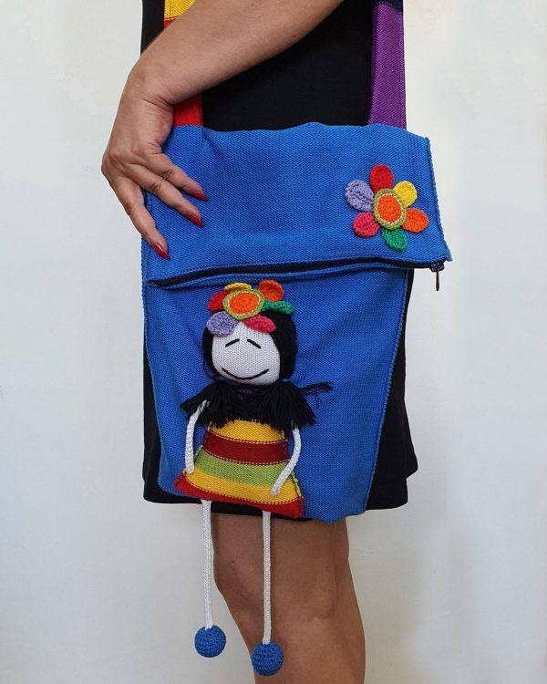 Blue Hand Knit Cotton Bag