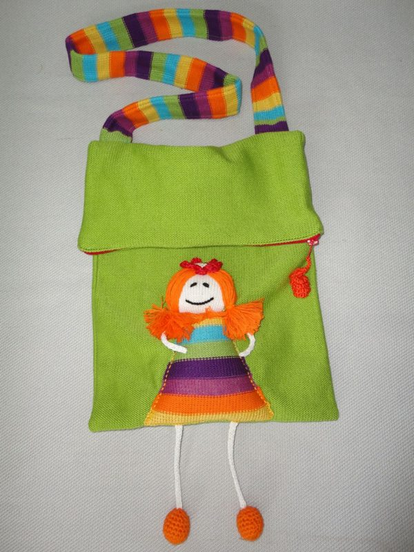 Light Green Bag with doll applique