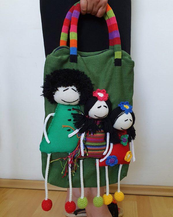 fair trade green knitted bag