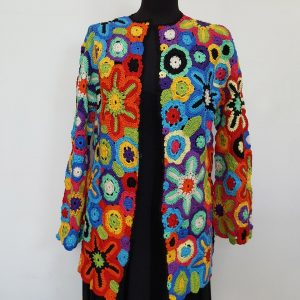 Rainbow colors crochet hippie jacket