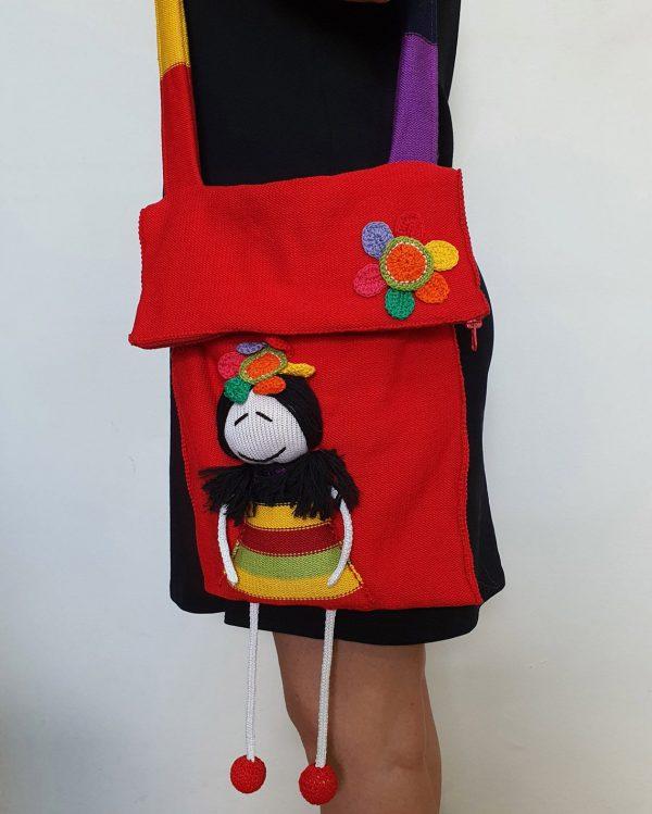 red knit shoulder bag