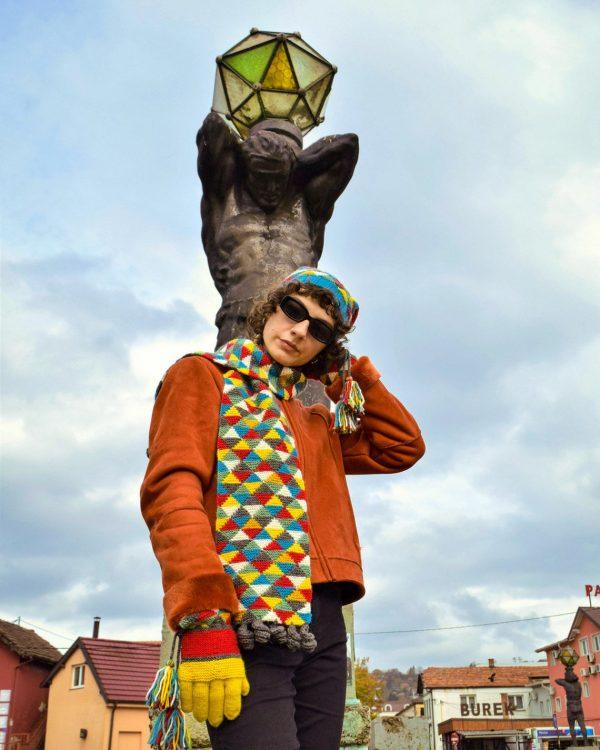 fair trade hand knit colorful shawl