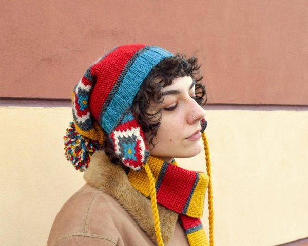 Colorful knit winter cap