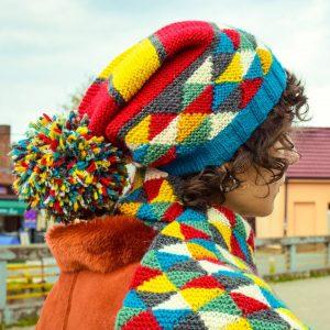 knit multicolored shawl