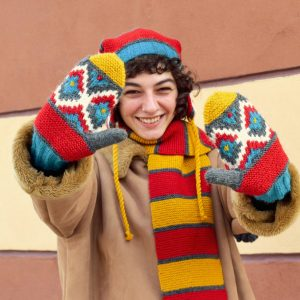 colorful hand knitted gloves