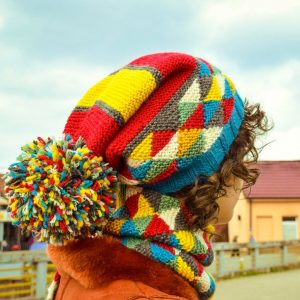 cold weather knit cap with pompon